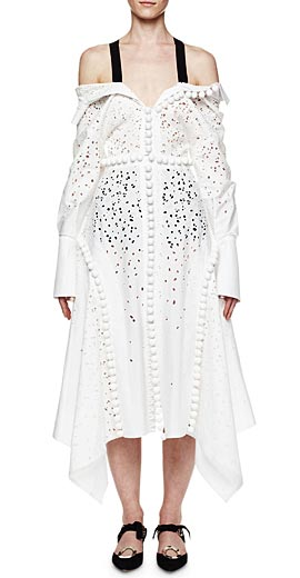 Proenza Schouler Off-the-Shoulder Pompom Handkerchief Dress