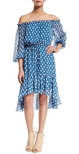 Diane von Furstenberg Camila Dotted Batik Off-the-Shoulder Dress