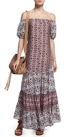 See by Chloe Off-the-Shoulder Multipattern Maxi Dress