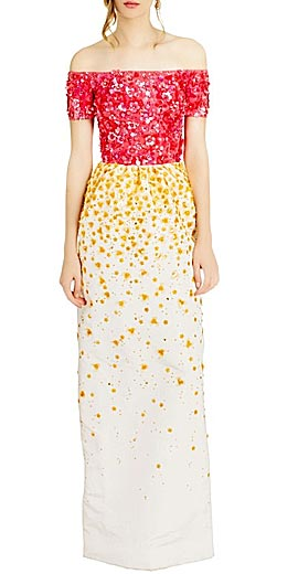 OSCAR DE LA RENTA off-shoulder embellished gown