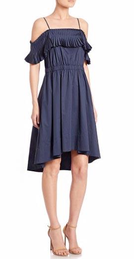 Tibi Satin Poplin Ruffled Off-The-Shoulder Dress