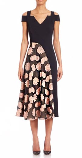 Roland Mouret Ebor Cold-Shoulder Daisy-Print Dress