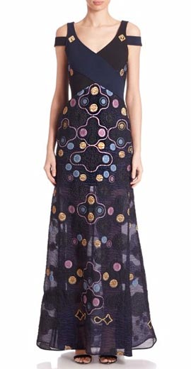 Peter Pilotto Pythia Embroidered Cold-Shoulder Gown