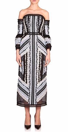 Erdem Sissy Lace Ribbon Off-The-Shoulder Dress
