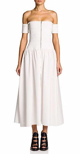 Fendi Smocked Off-The-Shoulder Midi Dress