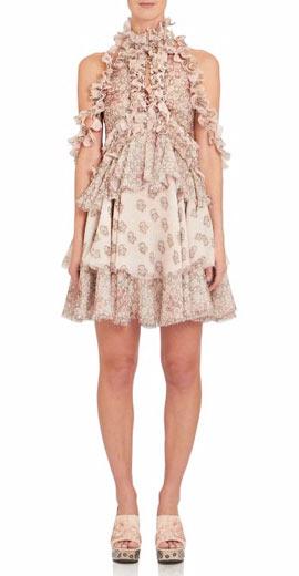 Alexander McQueen Ruffled Silk Cold-Shoulder Floral-Print Dress