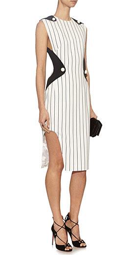 MUGLER Contrast-panel pinstriped crepe dress