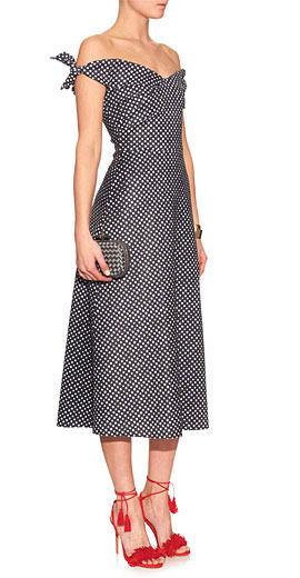 SALONI Ruth off-the-shoulder polka dot-print dress