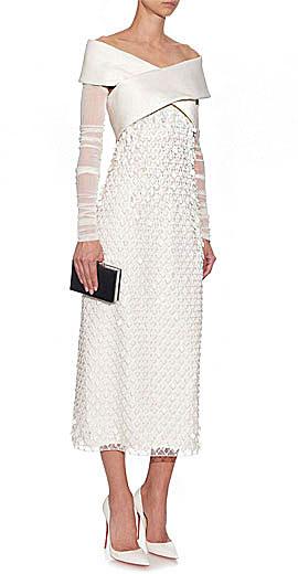 BALENCIAGA Cross-front diamond-embroidered dress