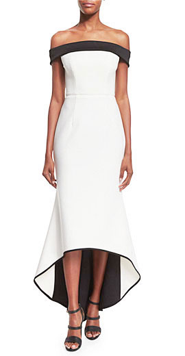 Black Halo Off-The-Shoulder Two-Tone Gown