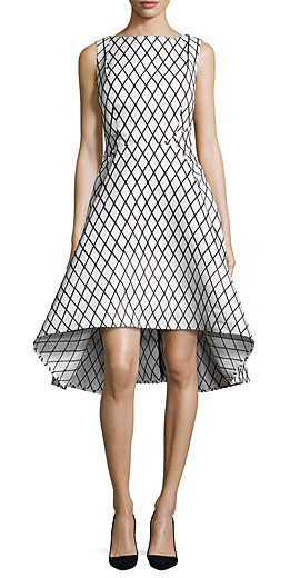 Rachel Gilbert Aria Sleeveless Diamond-Print High-Low Dress