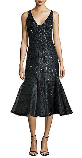Rachel Gilbert Acacia Embellished Fluted Dress