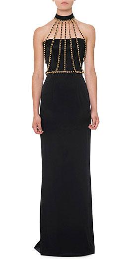Moschino Chain Halter-Neck Bustier Gown
