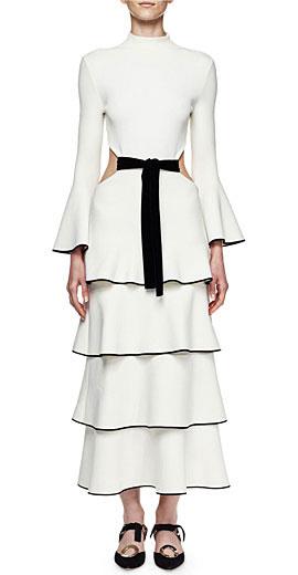 Proenza Schouler Bell-Sleeve Tiered Maxi Dress W/Cutout
