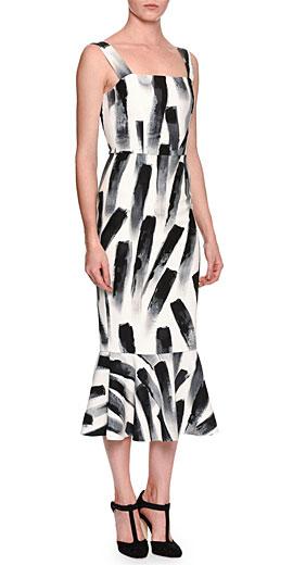 Dolce & Gabbana Sleeveless Paintbrush-Print Midi Dress