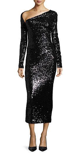 Donna Karan Long-Sleeve Embellished Midi Dres