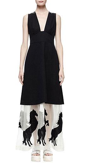 Stella McCartney Sleeveless Tuxedo Dress W/Horse Hem