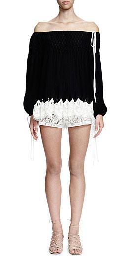 Chloe Long-Sleeve Smocked Top W/Lace Hem