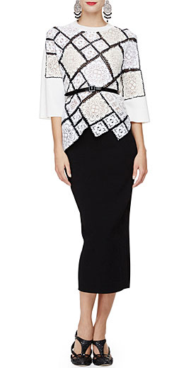 Oscar de la Renta 3/4-Sleeve Crochet-Lace Pullover