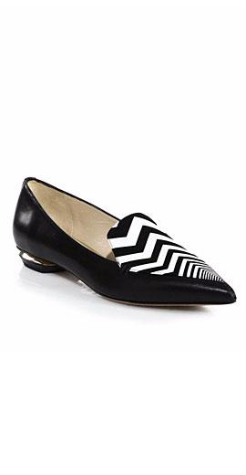 Nicholas Kirkwood Leather Zigzag-Detail Loafers