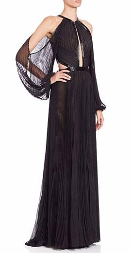 J Mendel Pleated Silk Halter Gown