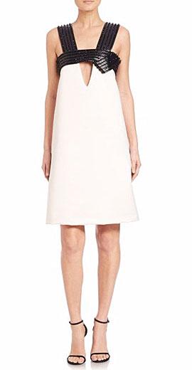 Josie Natori Embellished Leather Strap Dress