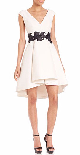 Halston Heritage Cap-Sleeve V-Neck Fit & Flare Dress