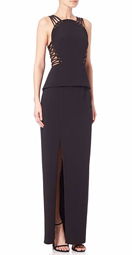 Mignon Corset-Detail Peplum Gown