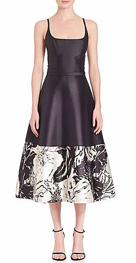 Theia Sleeveless A-line Floral-Hem Cocktail Dress