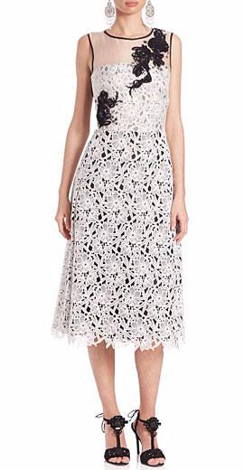 Oscar de la Renta Embroidered Silk & Lace Dress