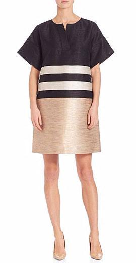 Lafayette 148 New York Striped Jacquard Dress