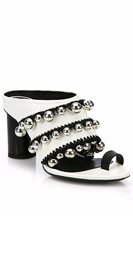 Proenza Schouler Silver Bells Crochet-Trim Leather Mule Sandals