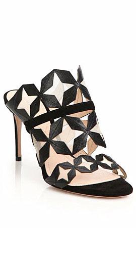 Nicholas Kirkwood Stella Laser-Cut Leather & Suede Mule Sandals