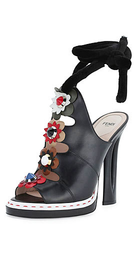 Fendi Floral-Appliqué Ankle-Wrap High-Heel Sandal