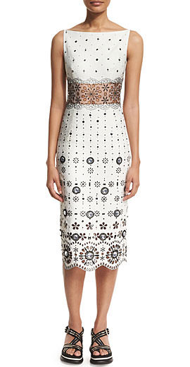Marc Jacobs Eyelet-Embroidered Gabardine Sheath Dress