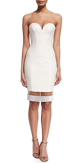 Versace Strapless Sweetheart Illusion-Hem Cocktail Dress