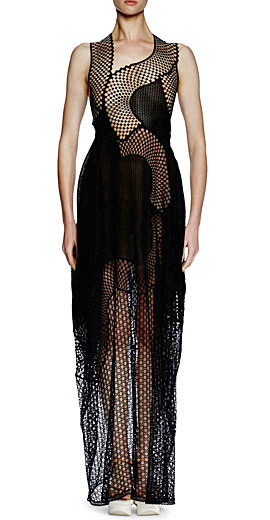 Stella McCartney Sleeveless Asymmetric Mesh Lace Gown