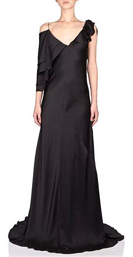 Saint Laurent Asymmetric Ruffle-Shoulder Silk Gown