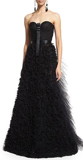 Oscar de la Renta Strapless Embellished-Skirt Gown