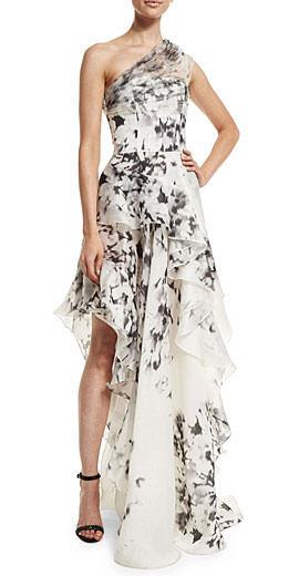 J. Mendel One-Shoulder Floral-Print Silk Gown