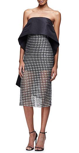 Monique Lhuillier Strapless Peplum-Cape Cocktail Dress