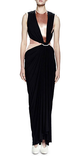 Lanvin Velvet Corset Dress w/Contrast Overlay