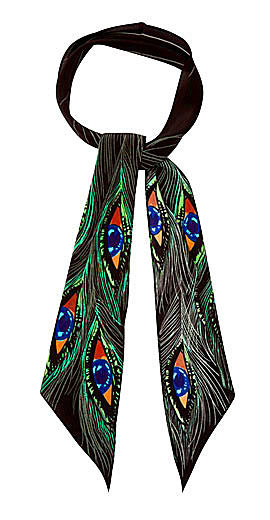 ROCKINS Peacock Eyes-print super-skinny silk scarf