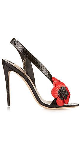 OLGANA PARIS Coquelicot poppy python sandals