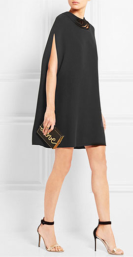 VALENTINO Cape-back stretch-silk cady mini dress