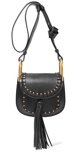 CHLOÉ Hudson mini studded textured-leather shoulder bag