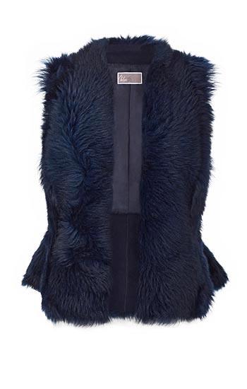 Olivia Palermo x Nordstrom Genuine Shearling Peplum Vest