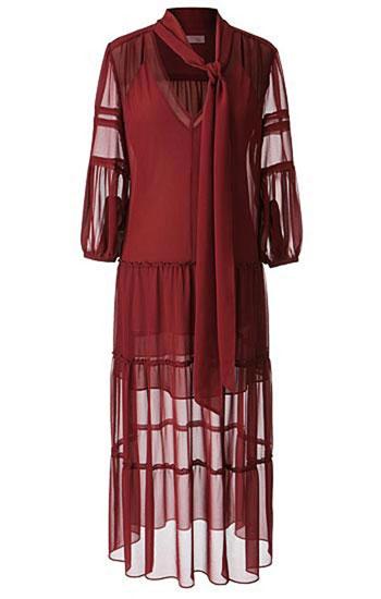 Olivia Palermo x Nordstrom Maroon Red Maxi Dress