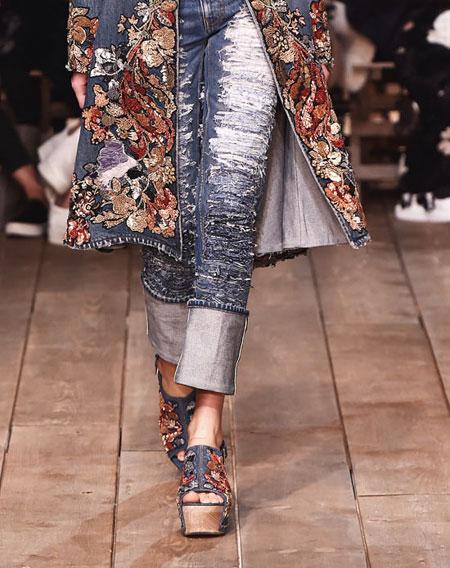 Alexander McQueen Slashed Embroidered Slim-Leg Jeans