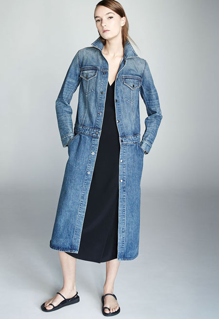 Helmut Lang Faded Denim Button-Front Trenchcoat